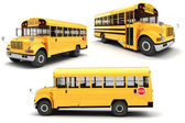 3d school bus on white background — Stock Photo