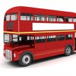 3d london bus on white background — Photo