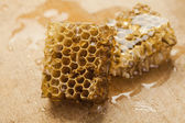 Honeycomb on wooden background — 图库照片