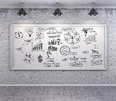Grunge 复古墙上的业务计划 — 图库照片
