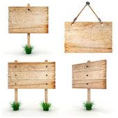 3d prázdné dřevěné vývěsní — Stock fotografie