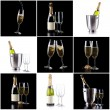 Champagne bottle and glasses pack — Stock Photo