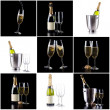 Champagne bottle and glasses pack — Zdjęcie stockowe