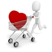 3d man with a big red heart in a shopping cart — Stock Photo