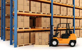 3d warehouse and forklift — Stock Photo
