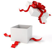 3d present box and red bow on white background — Stock Photo