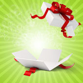 3d present box and red bow — Stock Photo