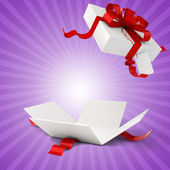 3d present box and red bow — Stockfoto
