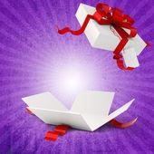 3d Geschenkschachtel und roten Bogen — Stockfoto