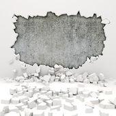 3d wall destruction — Stock Photo