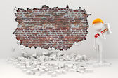 3d man demolishing a wall — Stock Photo