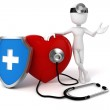 3d man medic and big red heart — Stock Photo #41491327