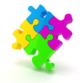 3d colorful puzzle piece on white background — Stock Photo