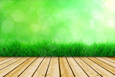 Background with fresh green grass and wood floor — Stock Photo