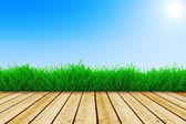 Background with fresh green grass, wood floor and blue sky — Stock Photo