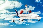 3d hombre turística y avión, metáfora de vacaciones — Foto de Stock