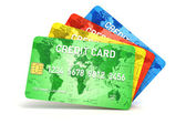 3d credit cards on white background — Foto Stock