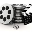 3d clapper board and film roll on white background — Stock Photo #48874599