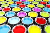 3d render de baldes de tinta colorida — Fotografia Stock