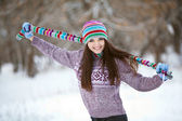 Girl in winter forest fun — Stock Photo