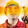 Construction engineer with touch screen — Stock Photo #12780439