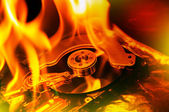 Computer hard disk burning — Stock Photo