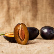 Plum on table — Stock Photo