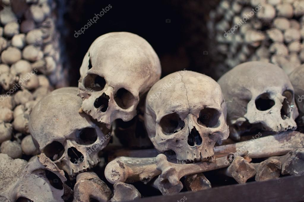 Human skulls and bones with soft shadows in Kutna Hora, Czech republic — Photo #13307136