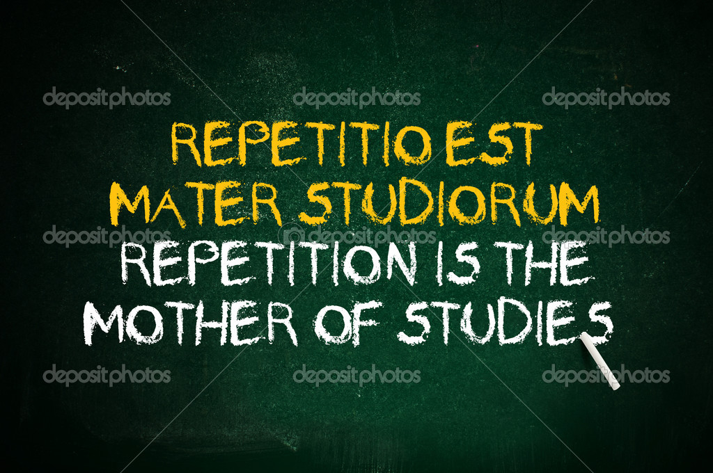Repetition is the mother of studies. Latin quote handwritten with chalk on a green school board. — Stock Photo #13439757