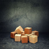 Wooden brick puzzle — Stock Photo