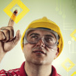 Construction engineer with touch screen — Stock Photo