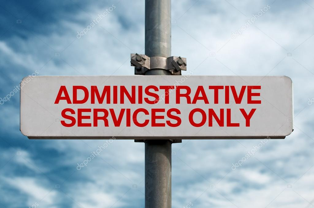 Green street sign - administrative services, cloudy sky in the background. — Stock Photo #13975179