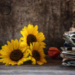 Autumn still life on table — Stock Photo