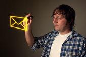 Designer drawing an envelope — Stock Photo