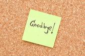 Sbohem poznámka — Stock fotografie