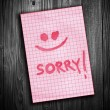 Sorry note — Stock Photo