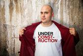 Under construction shirt — Stock Photo
