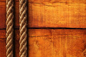 Wood texture and ropes — Foto de Stock