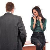 Colleagues flirting at job — Stock Photo
