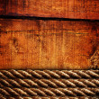 Wood texture and ropes - 图库照片