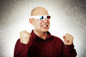 Man with 3d anaglyph glasses — Photo