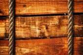 Wood texture and ropes — Stock fotografie
