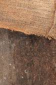 Jute canvas over wood — Stock Photo