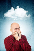 Worried man covering face — Stock Photo