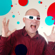 Royalty-Free Stock Photo: Scared man with 3d anaglyph glasses