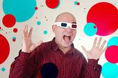 Bang man met 3d anaglyph bril — Stockfoto