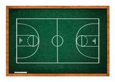 Cancha de baloncesto en pizarra verde — Foto de Stock