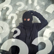 Confused burglar with lot of questions - Stock Photo