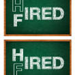 Stock Photo: Hired or fired concept