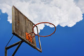 Old basketball hoop and a back board — Stock Photo